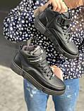 Подростковые ботинки кожаные зимние черные, фото 7