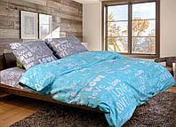 Семейный комплект постельного белья I Love you (бирюзово-серое) - лове з сірим