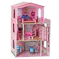 Деревянная игрушка домик для кукол MD 2413, 3 этажа, мебель