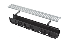 Дренажный канал 100мм с пластиковой рамой и оцинкованной решеткой С-образного профиля А15