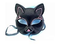 Маска бархатная кошка цветная микс.Карнавальные маски