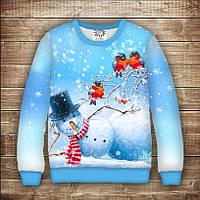 Свитшот рождественский с 3D принтом Снеговик на боку и синички на ветке. Взрослые и детские размеры