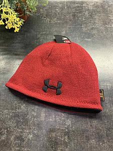 Зимняя двухсторонняя шапка Under Armor бордовая