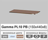 Стеклянная полка прямоугольная Commus PL10 PB (150х440х8мм), фото 1