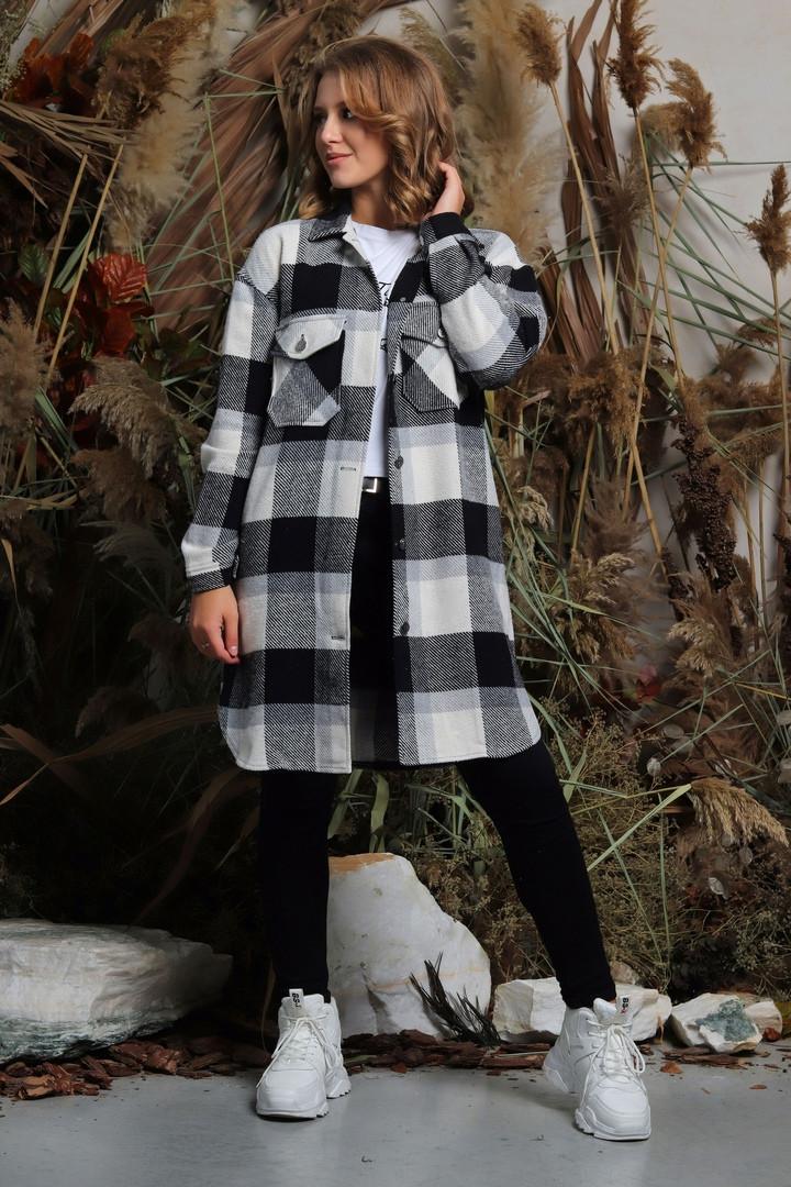 Шерстяное пальто-рубашка