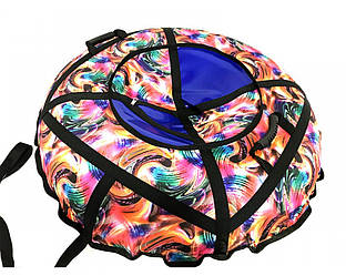 Тюбинг надувной  / Ватрушка / Надувные санки ПВХ диаметром 120 см., Радуга