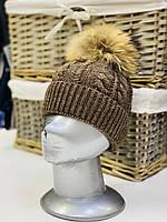 Шапка зимняя коричневая для девочки, фото 1