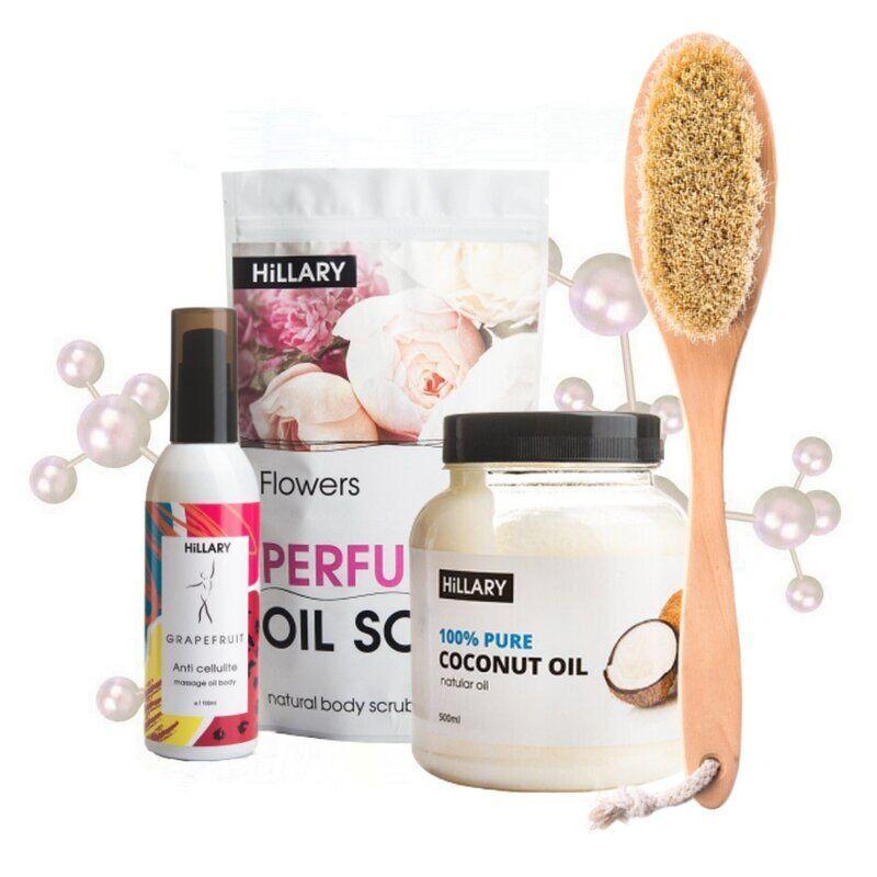 Щітка для сухого масажу + кокосове масло+антицелюлітна олійка+скраб для тіла