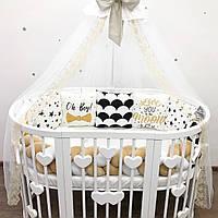Комплект в кроватку новорожденного, бортики-подушечки, бортики в детскую кроватку