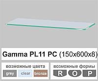 Полочка из стекла настенная навесная прямоугольная Commus PL11 PC (150х600х8мм), фото 1