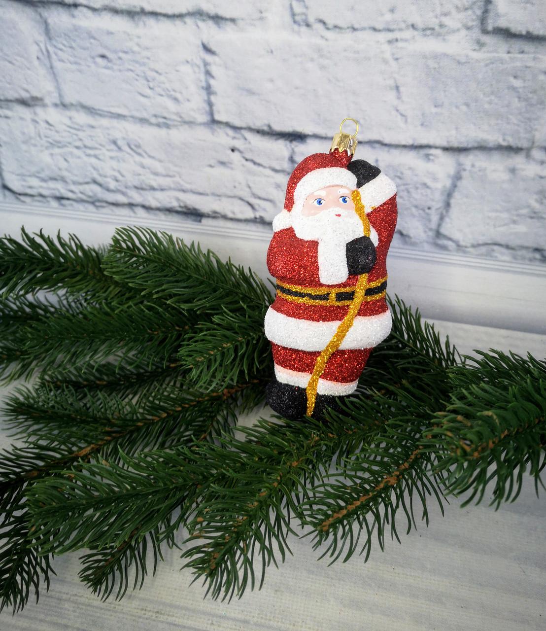 Новорічна підвіска Санта на мотузці блиск 109451