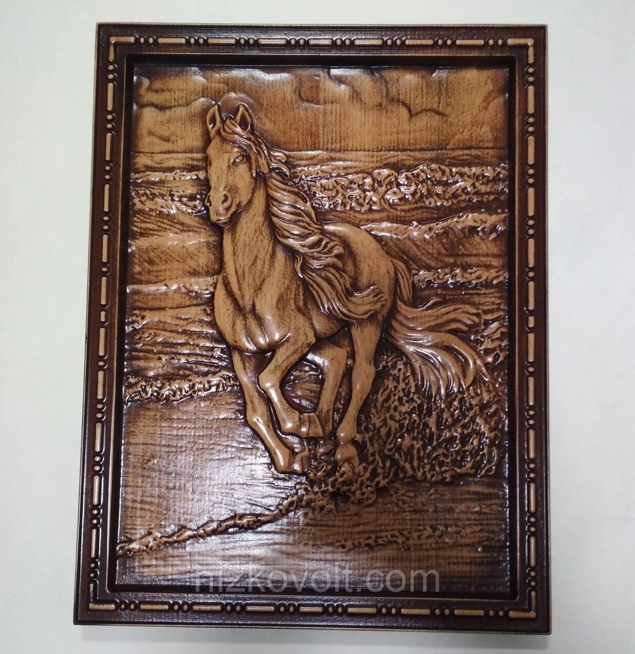 "Резная картина ""Лошадь бегущая по волнам"" 360х275х18 мм"