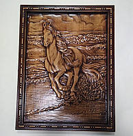 "Резная картина ""Лошадь бегущая по волнам"" 360х275х18 мм, фото 1"