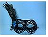 Маска бархатная с пером микс 20 см 9 см