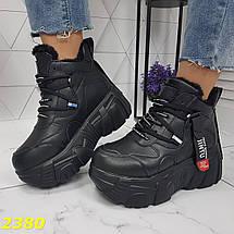 Зимние теплые стильные кроссовки на меху черного цвета SL-2380, фото 3