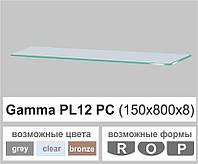 Стеклянная полка прямоугольная Commus PL12 PC (150х800х8мм), фото 1