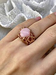 Серебряное кольцо в позолоте с морганитом    Страсть