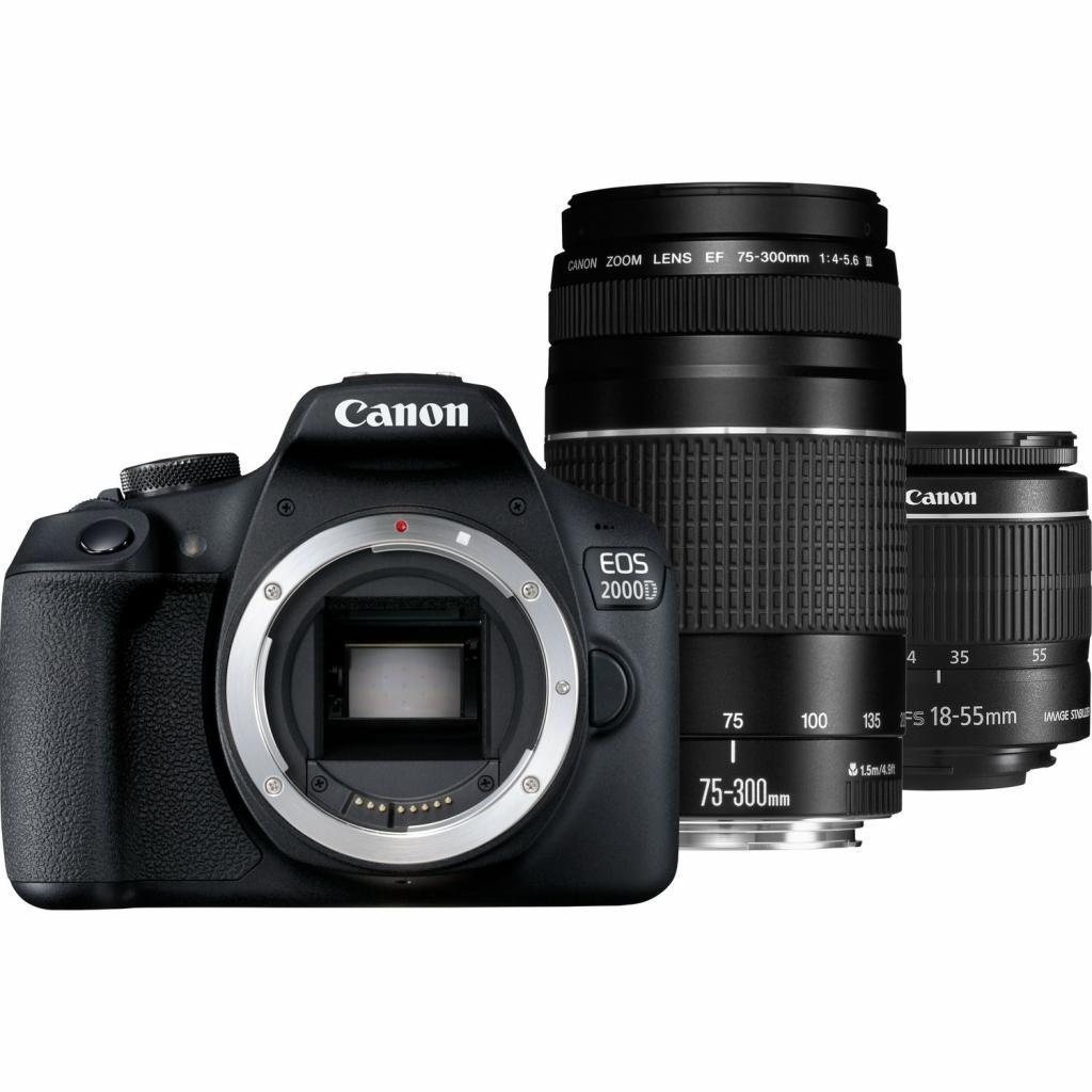Цифровой фотоаппарат Canon EOS 2000D 18-55 + 75-300 kit (2728C021AA)