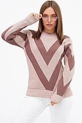 Шерстяной женский свитер в косую полоску