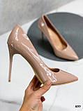 Туфли женские бежевые эко-лак на каблуке 10 см, фото 2
