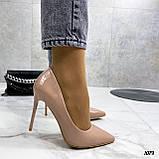 Туфли женские бежевые эко-лак на каблуке 10 см, фото 3