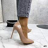 Туфли женские бежевые эко-лак на каблуке 10 см, фото 4