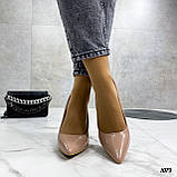 Туфли женские бежевые эко-лак на каблуке 10 см, фото 5