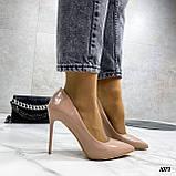 Туфли женские бежевые эко-лак на каблуке 10 см, фото 6