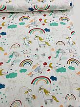 Муслін (бавовняна тканина) веселка конячка на білому (ширина 1,35 м)