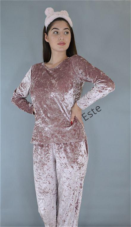 Пижама женская лонгслив и штаны Este. Велюровая теплая пижама.