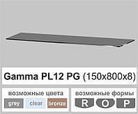Поличка зі скла настінна навісна універсальна прямокутна Commus PL12 PG (150х800х8мм), фото 1