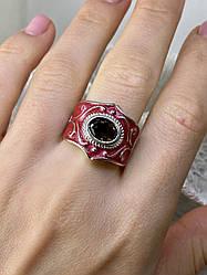 Кольцо из серебра с красной эмалью и камнем гессонит