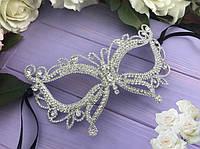 Маска срібло Метелик камінь.Карнавальні маски