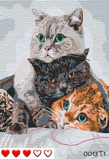 Картина по номерам (рисование по цифрам, живопись) 0013Т1 (Три кота)