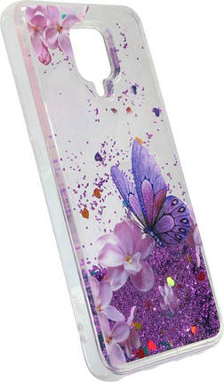 Накладка Xiaomi Redmi Note9S/Note9 Pro/Note9 Pro Max violet Butterfly аквариум, фото 2