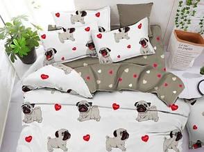 Євро комплект постільної білизни з собаками (біле) - мопси компанія