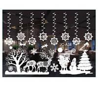 Наклейки на окна к новому году, белые - (в наборе 2 листа размером 50*35см)