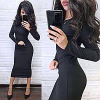 Женское повседневное платье с длинным рукавом ниже колен в рубчик, фото 1