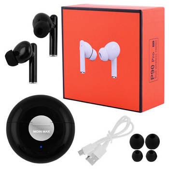 Беспроводные bluetooth-наушники вакуумные для телефона P90 Pro Moin Max 5.0 с кейсом, black