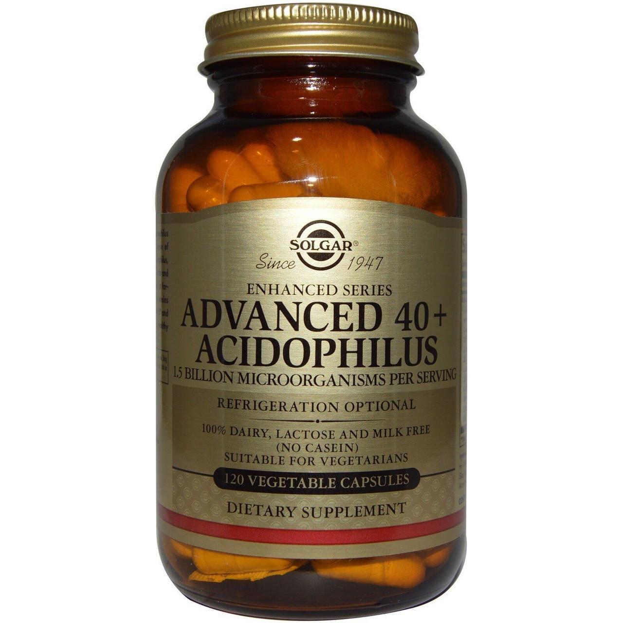 Біологічно Активні Добавки пробіотики Солгар Ацидофілус плюс 120 капсул Solgar Advanced Acidophilus Plus