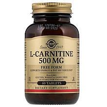 Аминокислота Солгар L-Карнитин способствует снижению веса  Solgar L-Carnitine 500 мг 60 таблеток