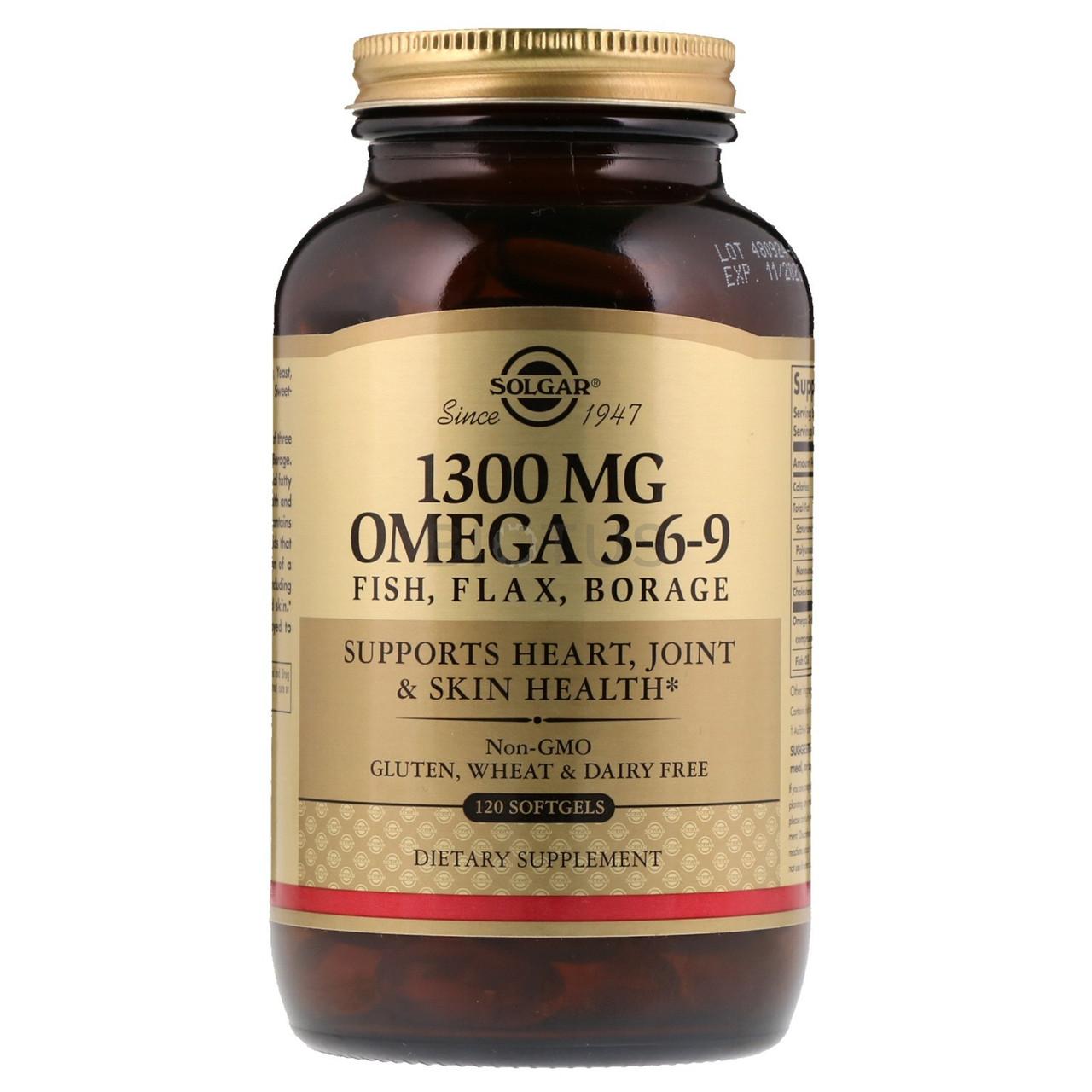Біологічно Активні Добавки Солгар Омега 3-6-9 1300 мг 120 капсул Solgar Omega (7846555)