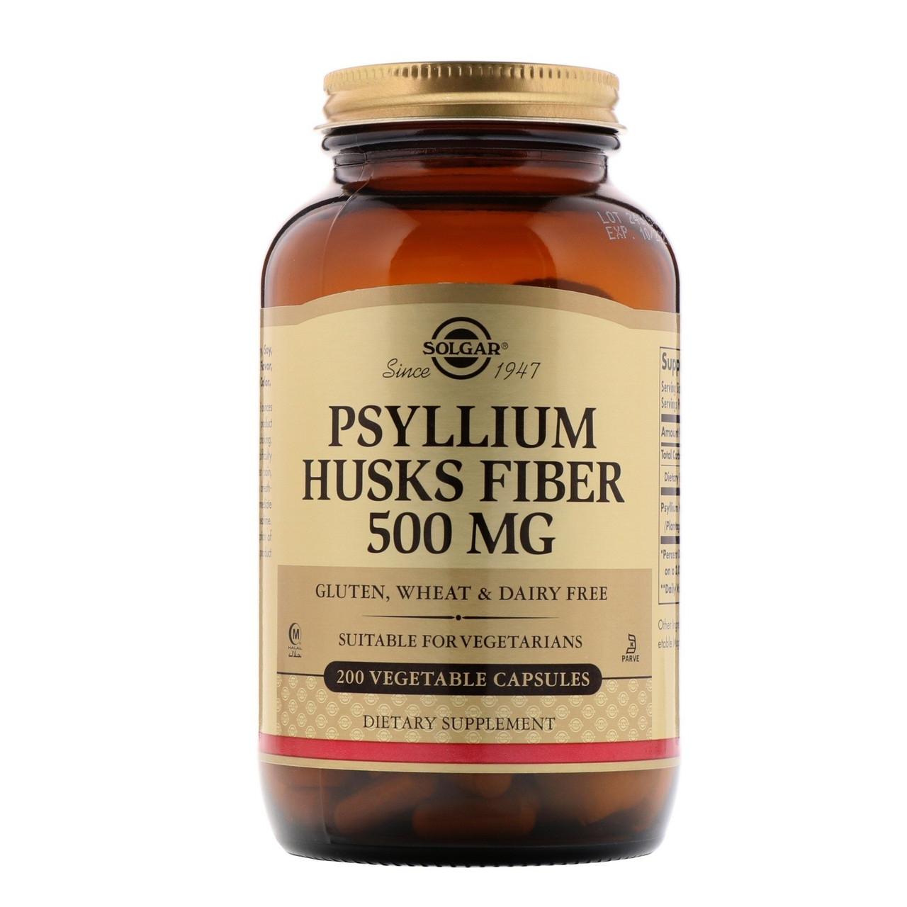 Биологически Активные Добавки Солгар Псилиум, клетчатка листьев 500 мг 200 капсул Solgar Psyllium Husks Fiber