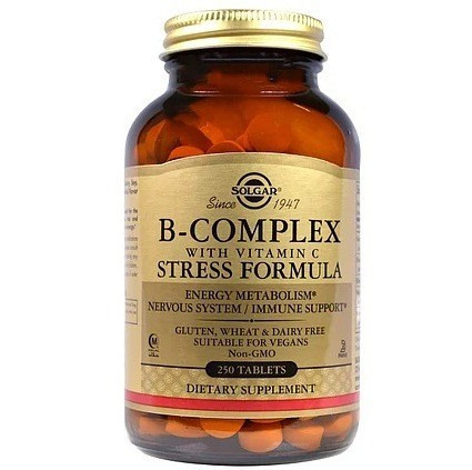 Вітаміни Solgar Комплекс вітамінів B, з вітаміном C, формула проти стресу, B-COMPLEX WITH VITAMIN C 250