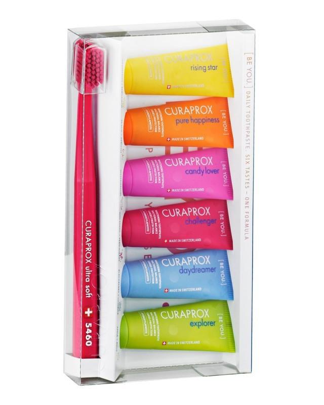 Набор Curapox 6 зубных паст по 10 мл с разными вкусами + зубная щетка Curaprox Ultra Soft