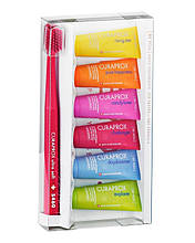 Набір Curapox 6 зубних паст по 10 мл з різними смаками + зубна щітка Curaprox Ultra Soft