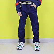58078 Синие джинсы на флисе для мальчика  с поясом  тм Seagull размер 146,164 см