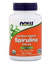 Натуральная добавка Now Foods Спирулина 500 мг 180 таблеток (733739027047)