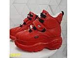 Кроссовки ботинки на высокой платформе зимние красные К2377, фото 2