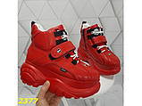 Кроссовки ботинки на высокой платформе зимние красные К2377, фото 4